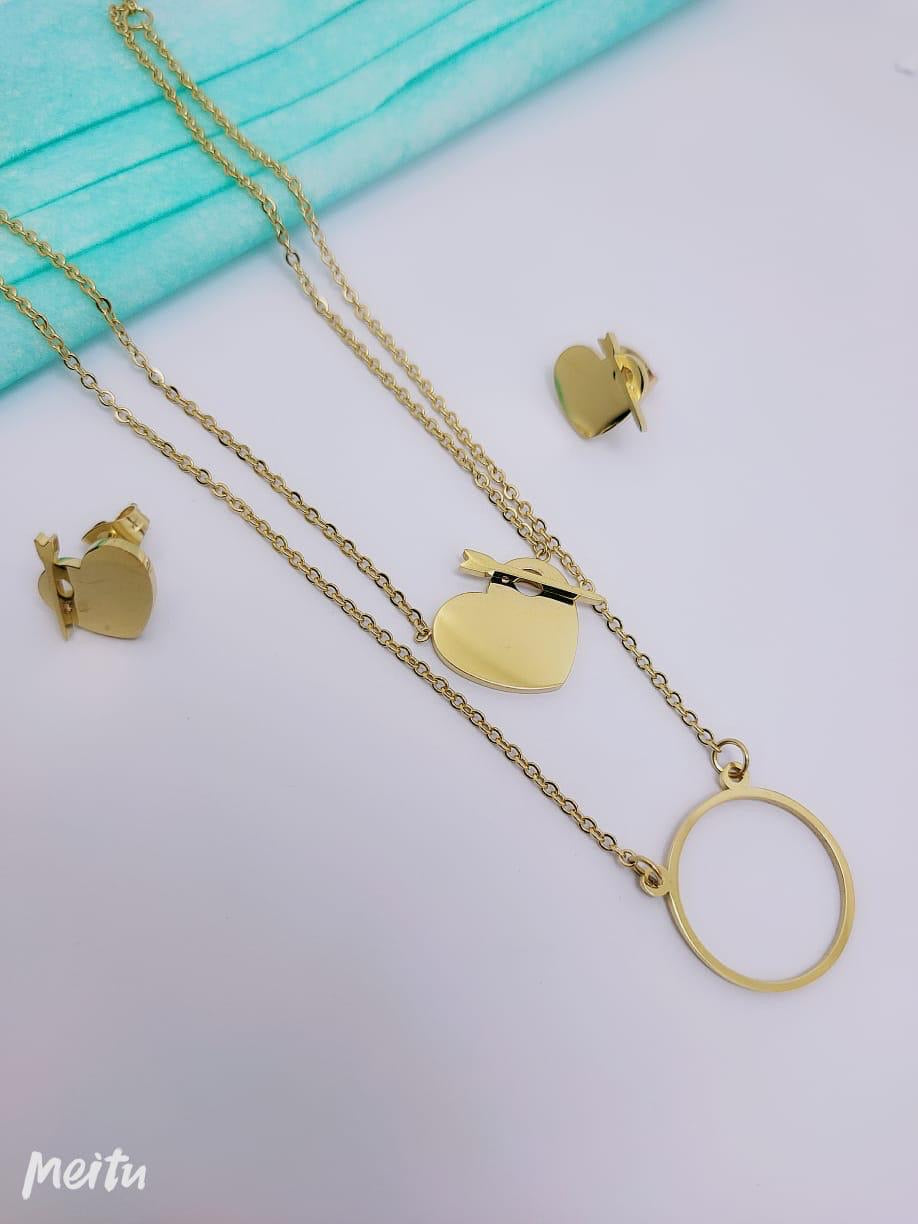 Arrow Heart Pendant Necklace with Tops/Earrings