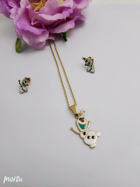 Olaf pendant Necklace with tops/earrings