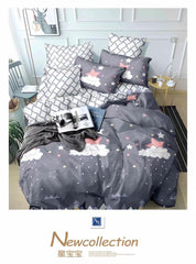 Grey Printed Cotton king size Bed sheet with Duvet Cover and 4 Pillow Case