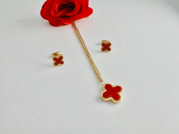 LV Red Plus Shaped Pendant Necklace with Tops/Earrings, Golden