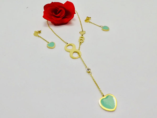 Green Heart Pendant Necklace with Tops/Earrings Golden