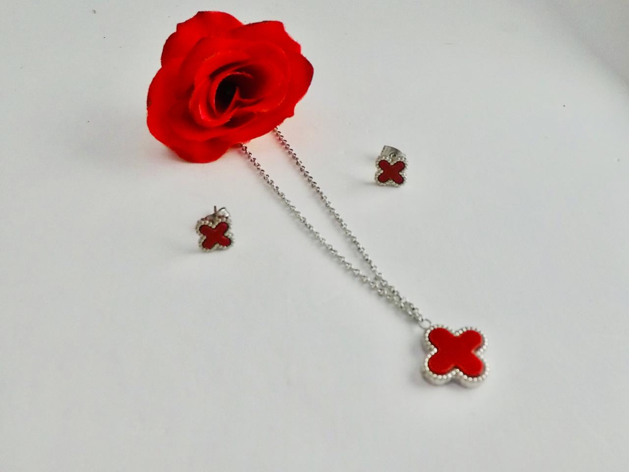 LV Red Plus Shaped Pendant Necklace with Tops/Earrings Silver