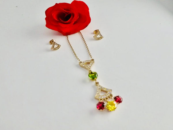 Colorful Stones Pendant Necklace with Tops/Earrings