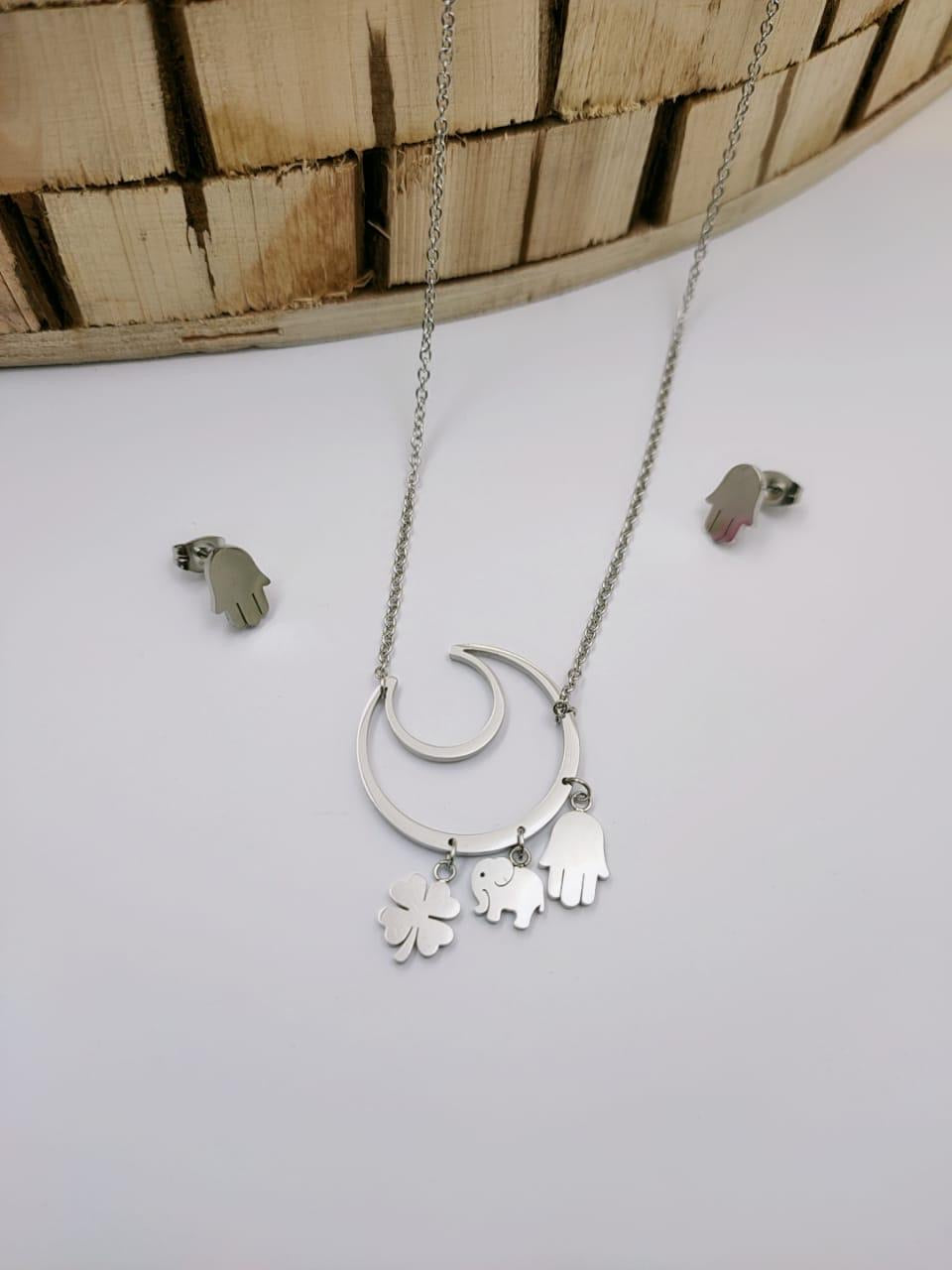 Crescent Moon Shaped Pendant Necklace with Earrings