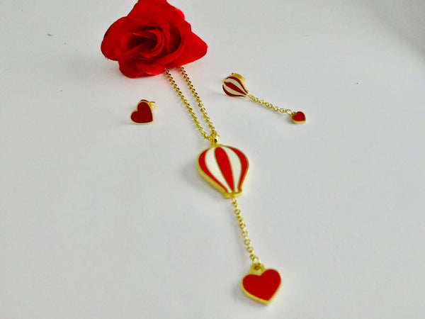 Red Heart Pendant Necklace with Tops/Earrings Golden