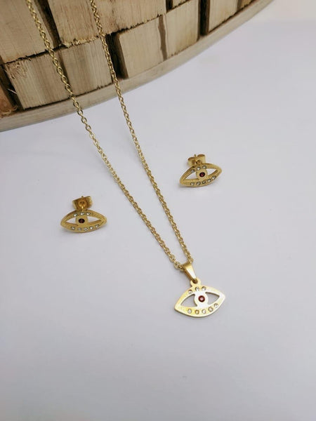 Eye Shaped pendant Necklace with tops/earrings