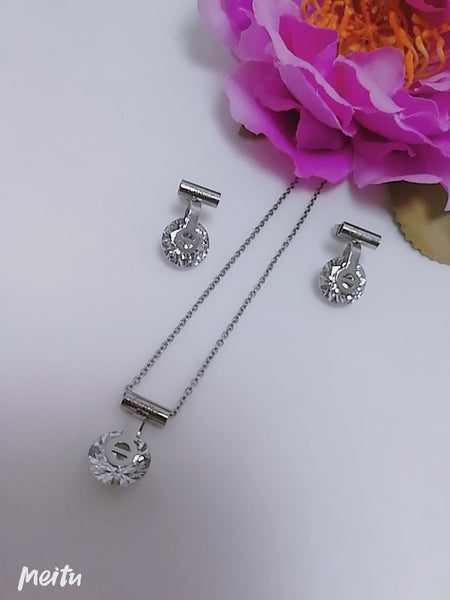 Cartier Diamond Pendant Necklace with Tops/Earrings, Silver