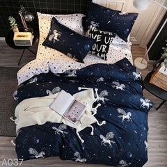 Pegasus Print Cotton king size Bed sheet with Duvet Cover and 4 Pillow Case