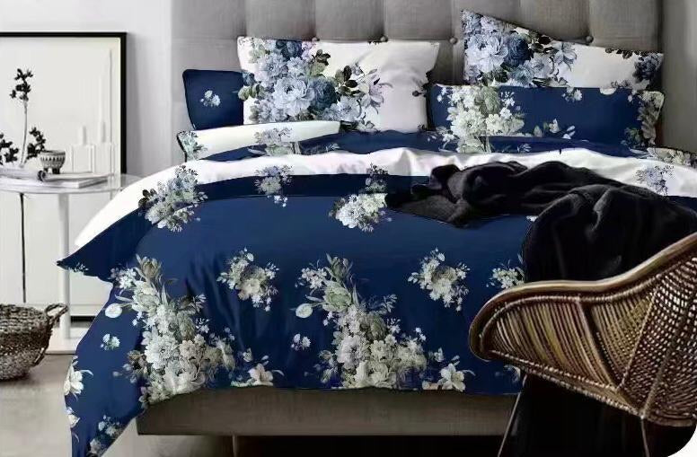Blue Floral Cotton king size Bed sheet with Duvet Cover and 4 Pillow Case