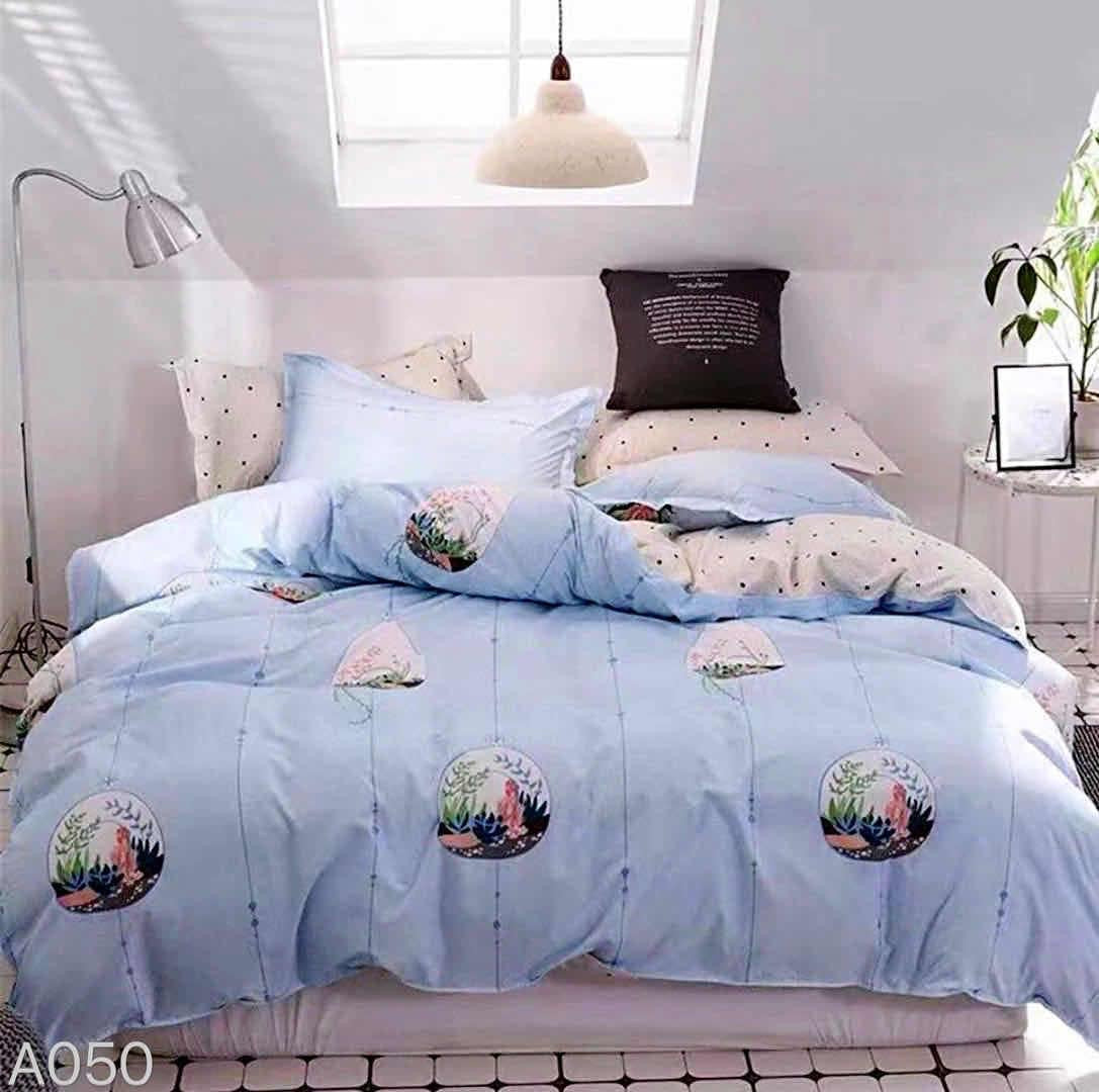 Sky blue Cotton king size Bed sheet with Duvet Cover and 4 Pillow Case