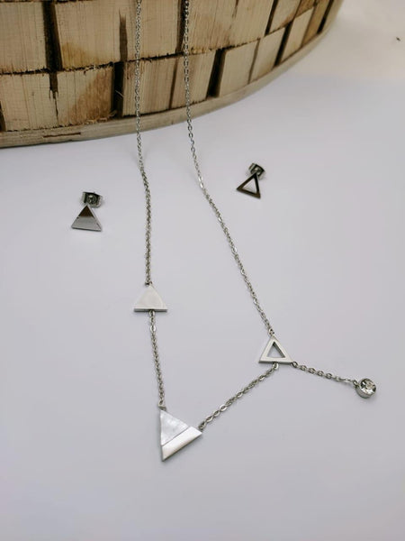 Triangle Pendant Necklace with Earrings