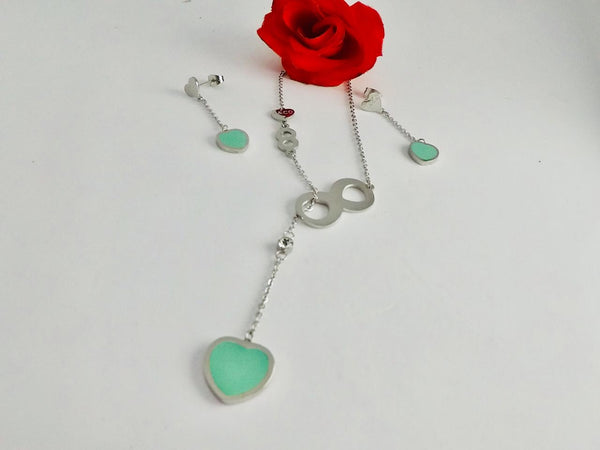 Green Heart Pendant Necklace with Tops/Earrings Silver