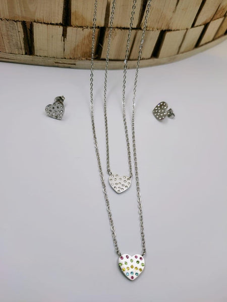 Heart Pendant Necklace with Earrings