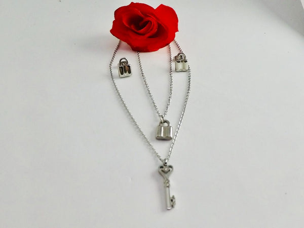 Lock with key Pendant Necklace with Tops/Earrings