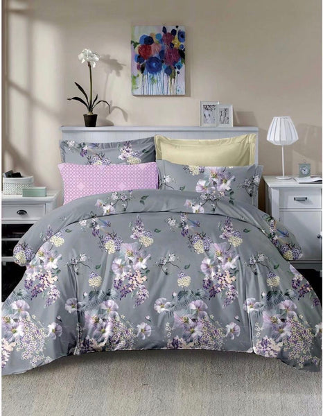 Grey Floral Cotton king size Bed sheet with Duvet Cover and 4 Pillow Case