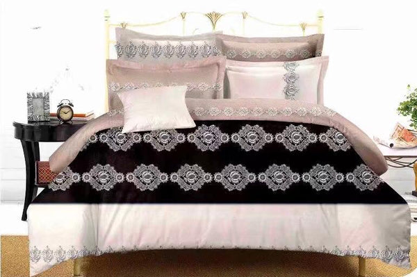Black traditional Cotton king size Bed sheet with Duvet Cover and 4 Pillow Case