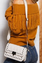 Playful Cable Off Shoulder Fringe Sweater Top