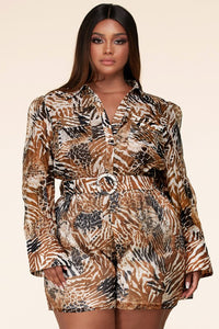 Diamond In The Ruff Safari Romper - Plus