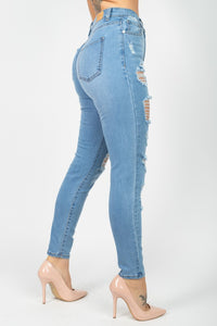 Super High Rise Distressed Woven Skinny Jeans
