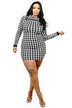 Houndstooth Long Sleeve Mini Dress - Plus