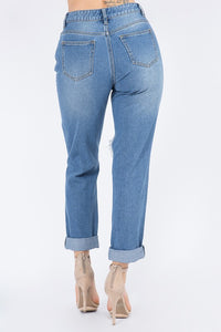 High Waist Slim Straight Boyfriend Jeans