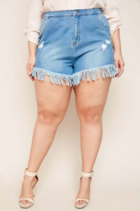 Distressed Denim Fringe Shorts - Plus