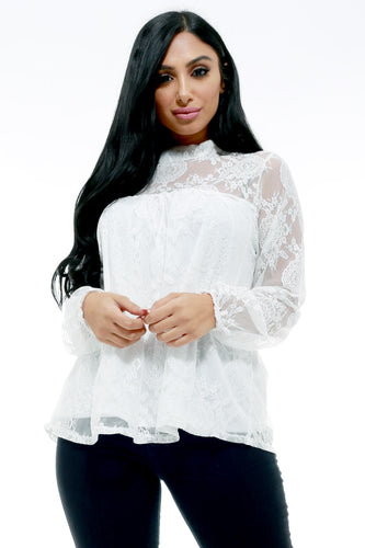 Put Me First Floral Lace Peasant Blouse