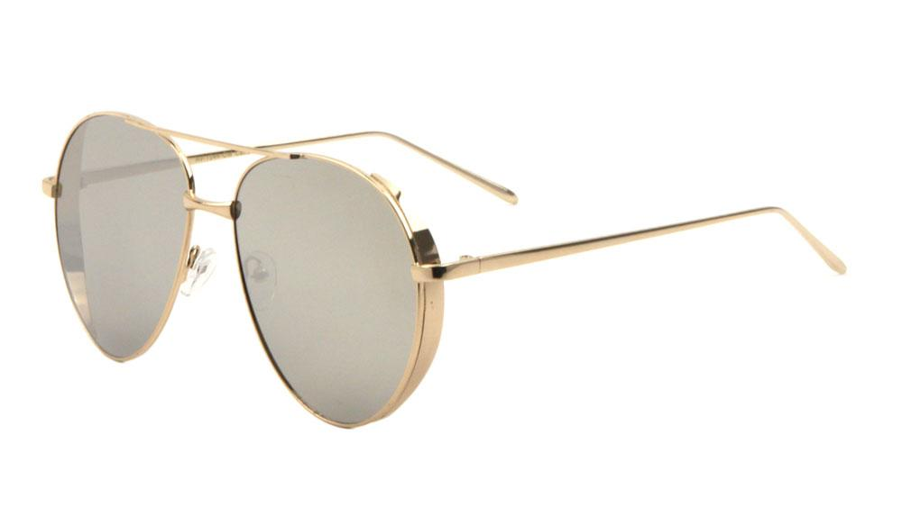 Side Shield Color Mirror Aviators Sunglasses