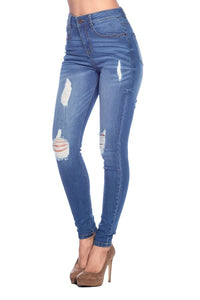 High Rise Skinny Distressed Cropped Jean