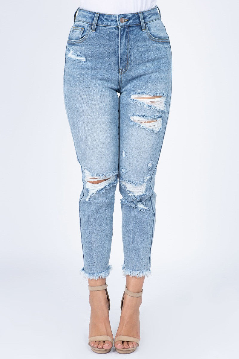 Women's High Waist Straight Fit Distressed Jeans