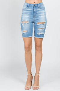 Women's Distressed Denim Bermuda Shorts