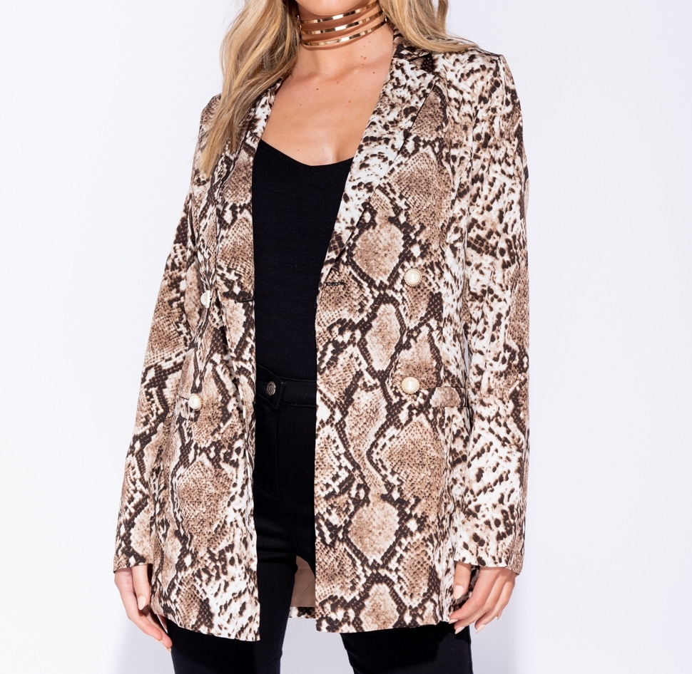 Making Moves Snake Print Double Breasted Blazer