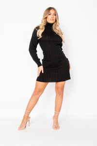 Cozy Feeling Rib Knit Roll Neck Sweatedr Dress