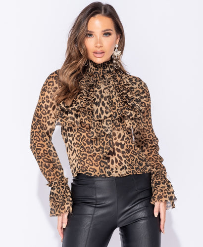 Jungle Princess Leopard Print Pussy Bow Blouse