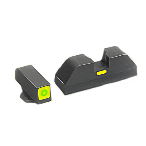 Glock Pistol Sight Set - 20 - 21 - 29 - 30 - 31 - 32 - 36 - 40 - 41 - Cap - Green Front Tritium Illumination