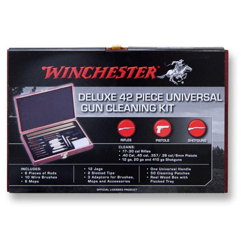 Winchester Deluxe Universal Gun Cleaning Kit - 42 Piece,  Wooden Case