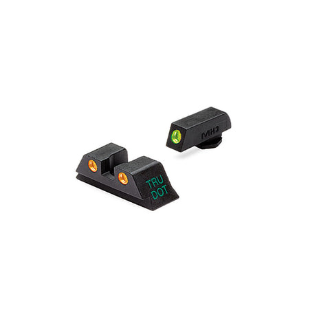 Tru-dot Sight Set, Glock 10mm-45acp, Green Front And Orange Rear Dots