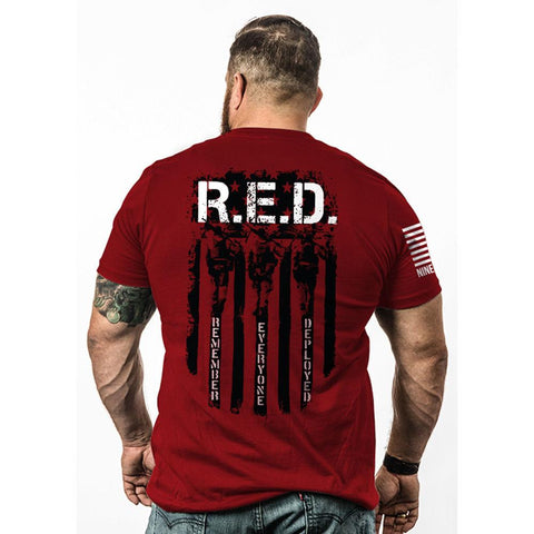Men's Red Remember Everyone Deployed T-shirt - Medium