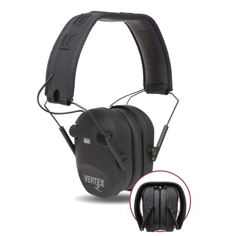 Vertex Rechargeable Slim Dual-mic Electronic Earmuff - Black