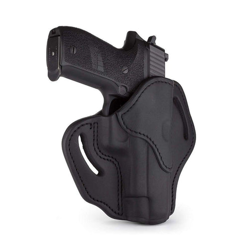 Open Top Multi-fit Belt Holster - Stealth Black - Right Hand - Ber 92fs, Glk 17-20-21, H&k 45, Rug P95, Sig P220, Wal P99
