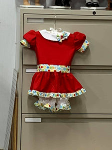 RED  RTS size 18m/24m/2t  OOAK casual wear Tunic Peter Pan and Short Set