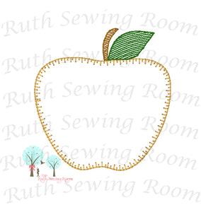 Apple Vintage Stitch Applique - Design Instant Download Machine Embroidery - This is NOT a PATCH!