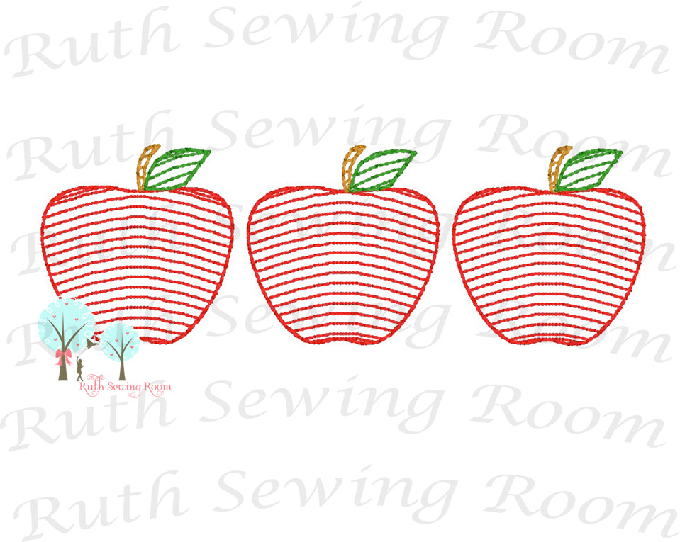 3 Apple Vintage Stitch  - Design Instant Download Machine Embroidery - This is NOT a PATCH!