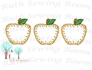 3 Apple Vintage Stitch Applique - Design Instant Download Machine Embroidery - This is NOT a PATCH!