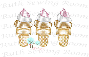 Ice Cream Vintage Stitch -   Embroidery Design Instant Download Machine Embroidery - This is NOT a PATCH!