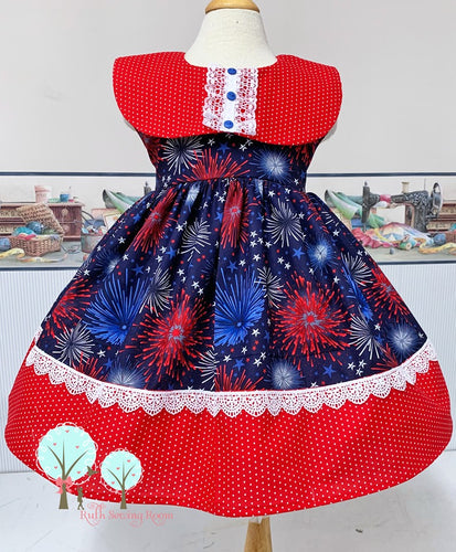 RTS 4th of July - Red White Blue Dress with two matching Hair Bows