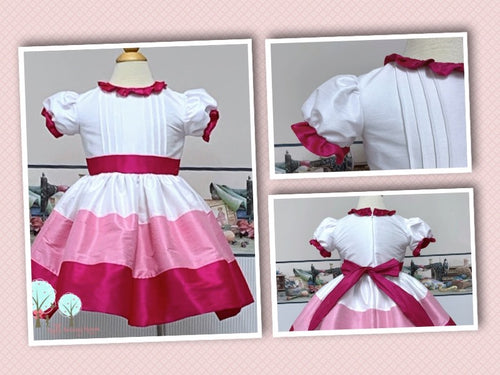 Beauty - Sunday Best - Poly Silk Dupioni  Pintucks - Wedding Flower Girl - Easter - Tea Party Dress - Birthday Party Dress - Ruth Sewing Room