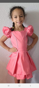 Reserved listing for Alicia Gomes --satin polyester coral  fabric dress size 4/5
