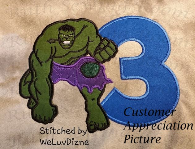Hulk Birthday # 3   Applique, Avenger Applique Embroidery Design This not a fill and NOT A PATCH