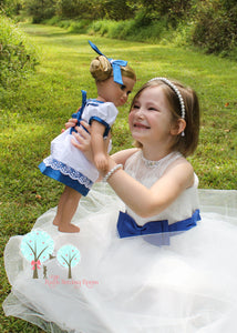"Ballerina Clara Dress,Victorian era  White and Sapphire Blue- Poly Silk DUPIONI, 18"" American Girl Dress"